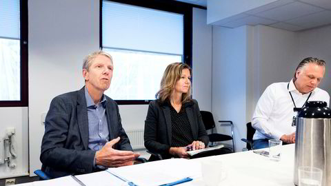 Fra venstre administrerende direktør Jon Carlsen i Eiendomsbygg, kommunikasjonsdirektør Kristin og eiendomsdirektør Tom-Erik Holte erkjenner at rutinene ikke har vært gode nok.