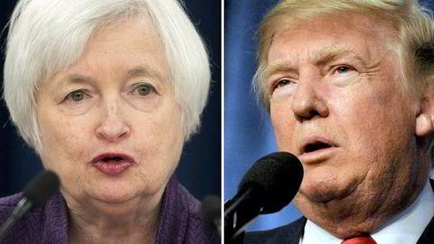 En konfrontasjon mellom USAs sentralbanksjef Janet Yellen og USAs neste president Donald J. Trump kan være på trappene, mistenker makroanalytiker.