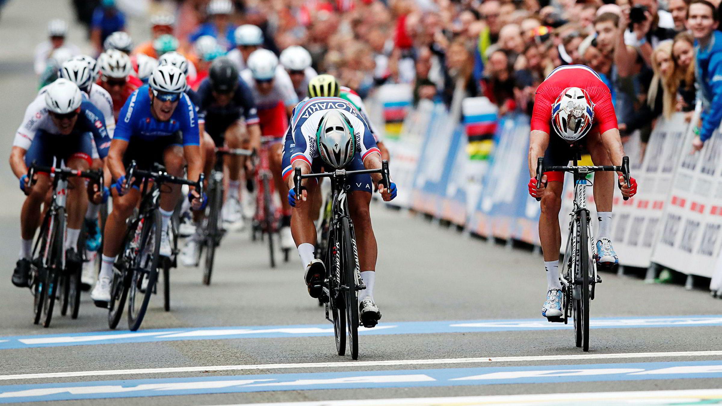Slovakiske Peter Sagan ble verdensmester i Bergen 24. september etter å ha slått nordmannen Alexander Kristoff i spurten.
