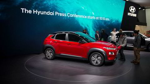 Hyundai Kona electric ble presentert under bilutstillingen i Genève tidligere i år.