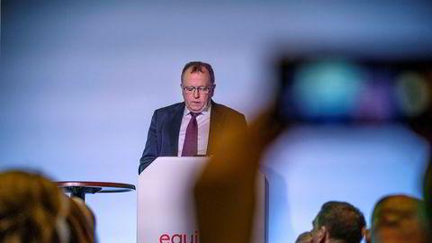 Equinors konsernsjef Eldar Sætre under sin åpningstale på selskapets kapitalmarkedsdag i London torsdag.