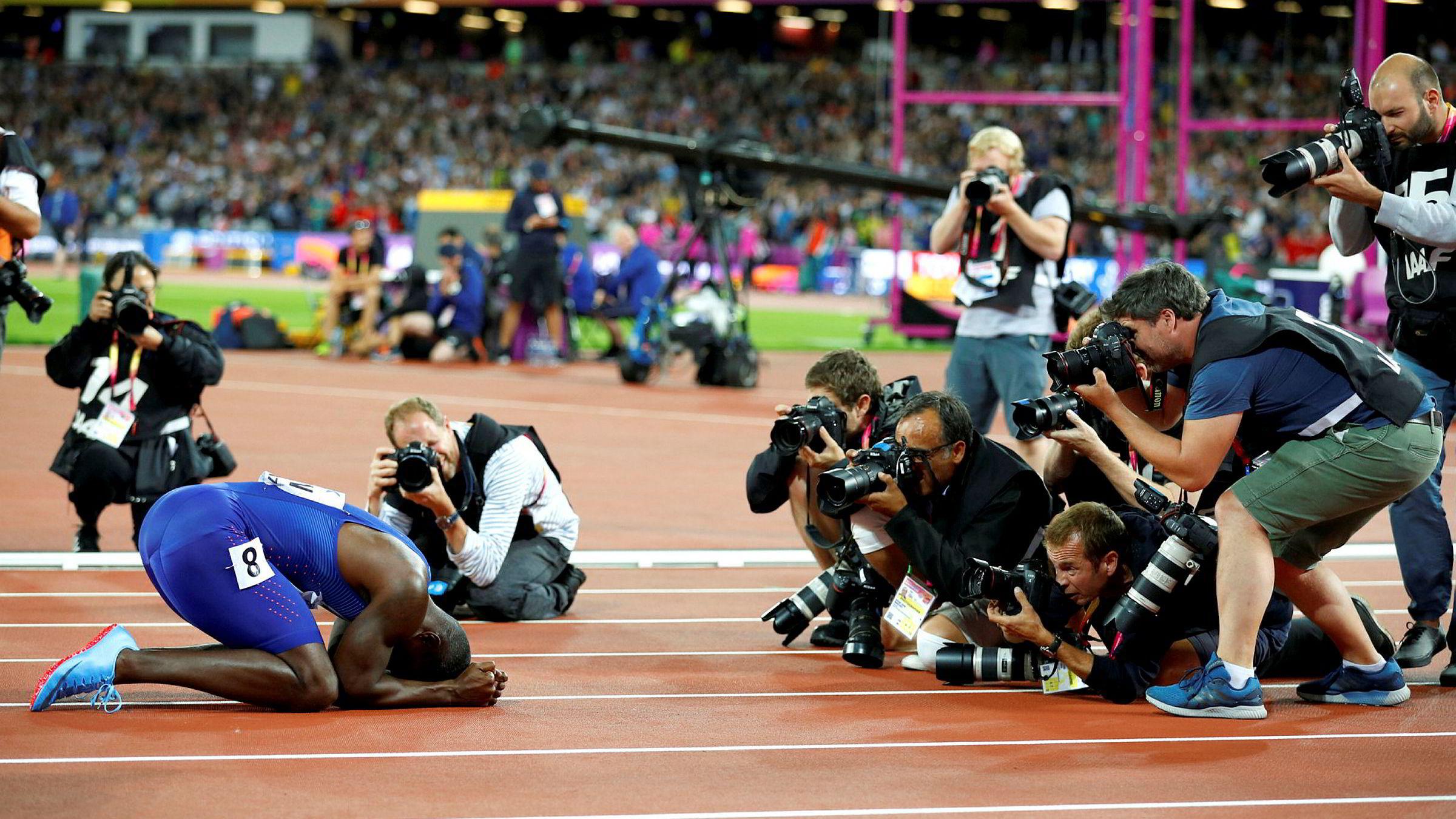 Den dopingdømte sprinteren Justin Gatlin under friidretts-VM i London 5. august, etter å ha vunnet 100-meterfinalen.
