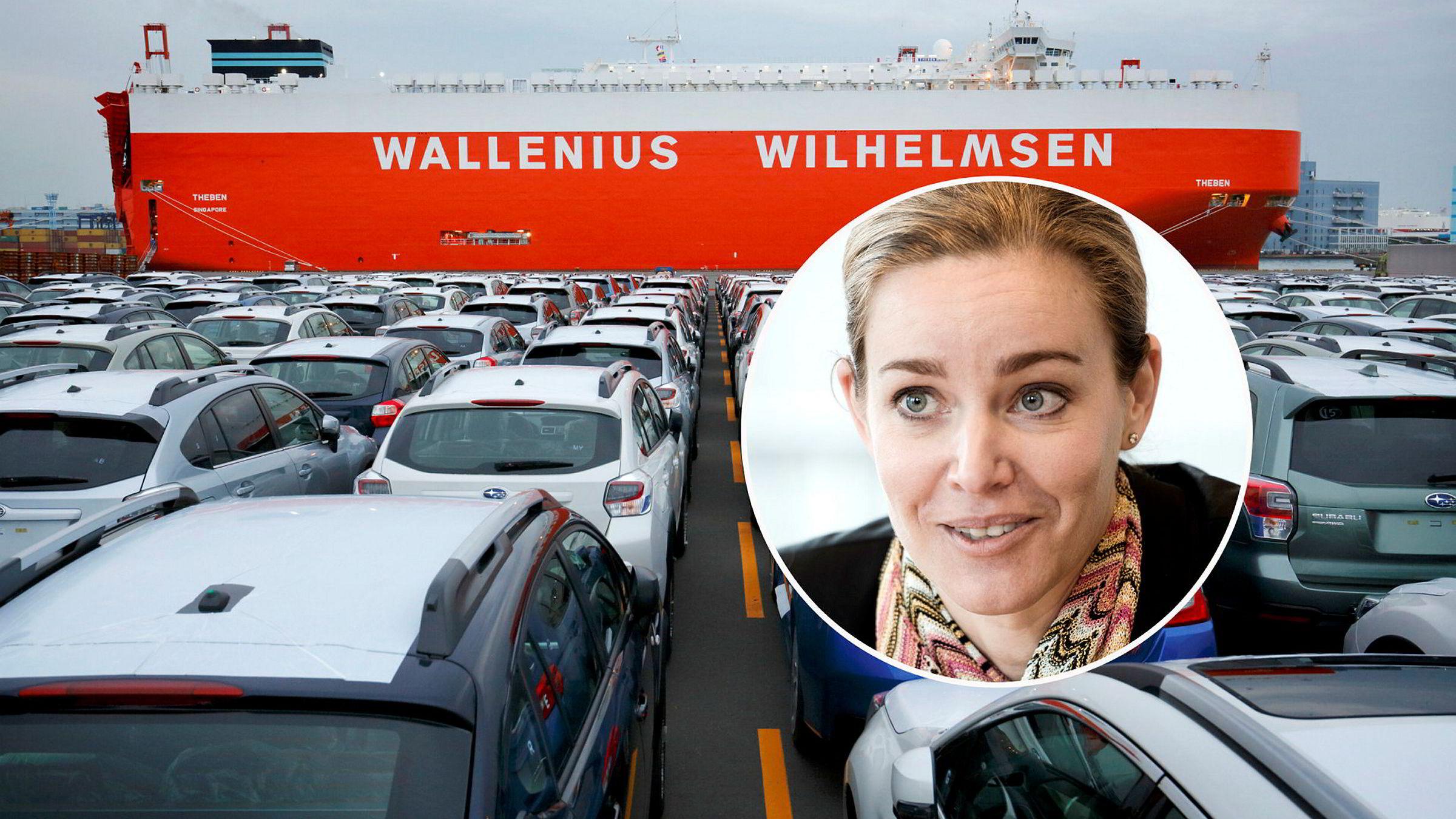 Finansdirektør Rebekka Herlofsen i Wallenius Wilhelmsen er trygg på at rederiet klarer å redusere kostnadene dersom volumene faller som følge av en eventuell toll på import av biler til USA.