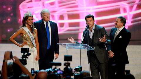 Donald Trump og Aras Agalarov, her sammen med sønnen Emin Agalarov og Miss Connecticut USA Erin Brady, i Las Vegas i juni 2013. Noen måneder før Miss Universe i Moskva høsten 2013.