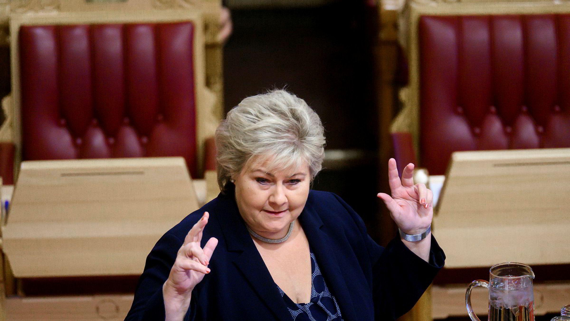 – Perverse effekter, sa statsminister Erna Solberg da hun svarte på spørsmål om klimapolitikk i Stortinget.