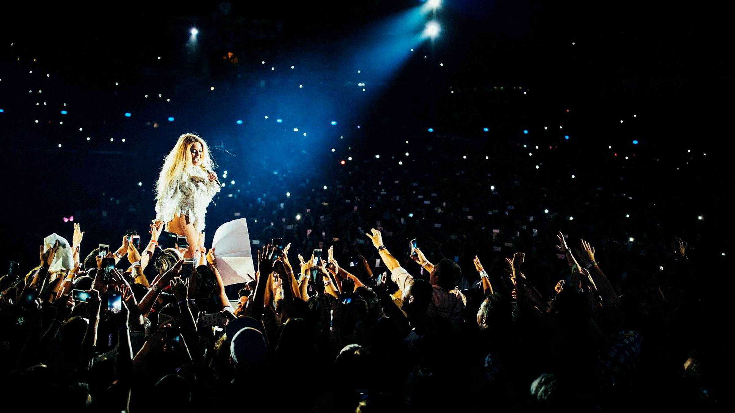 Beyoncé gikk rett til topps på VG-lista basert på lyttertallene hennes på Tidal. Her står hun på scenen under Coachella-festivalen i California i april i år.