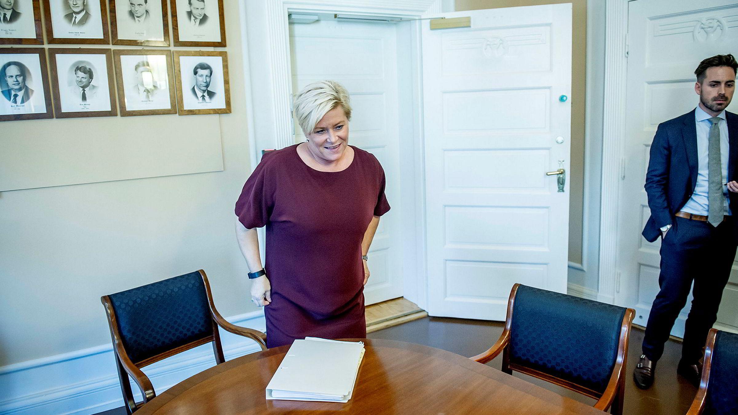 Finansminister Siv Jensen (Frp) vil at alle nordmenn skal få hver sin pensjonskonto.