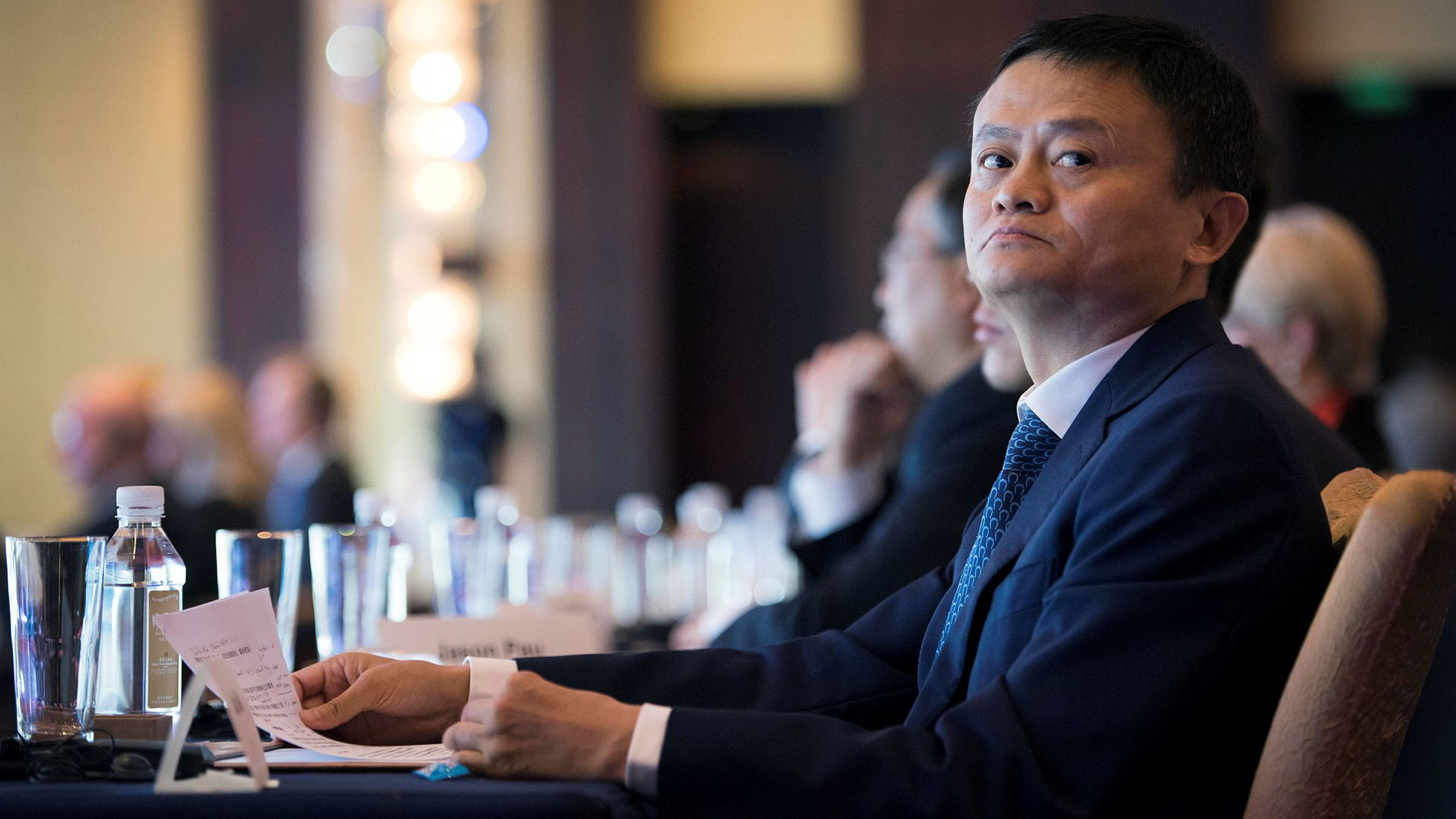 Alibaba-gründer Jack Ma får likevel ikke kloen i amerikanske MoneyGrams. Her fra den norske handelskonferansen Norway-China Business Summit i april 2016.
