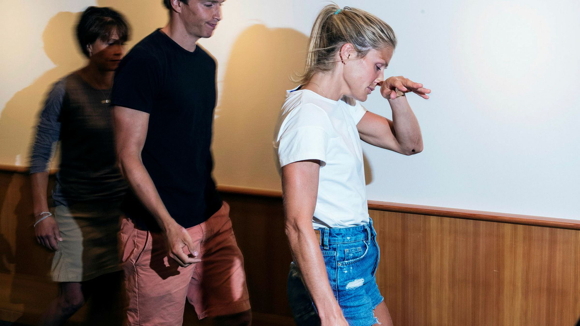 Therese Johaug har ventet på dom i Cas siden høringen i Sveits i starten av juni. Hun ble først informert om den positive dopingprøven i starten av oktober 2016. Her under pressekonferansen tirsdag.