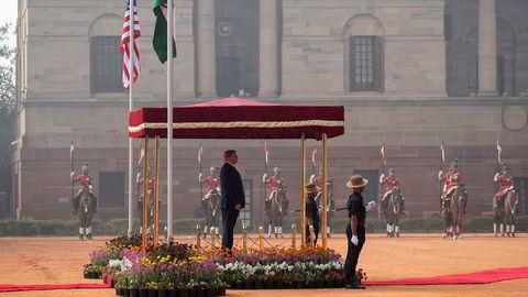 USAs president Donald Trump fikk en seremoniell mottagelse i Rashtrapati Bhavan, det indiske presidentpalasset, i New Delhi tirsdag.