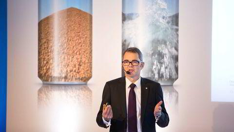 Hydro-sjef Svein Richard Brandtzæg på Hydros kapialmarkedsdag i 2015.