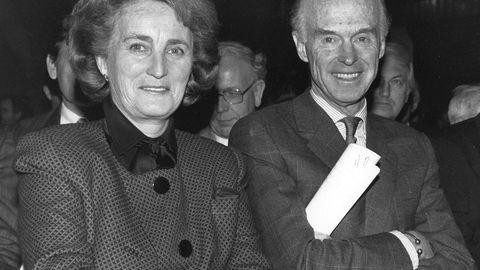 Kristin Olsen sammen med sin mann Fred. Olsen. Bildet er tatt i 1991.