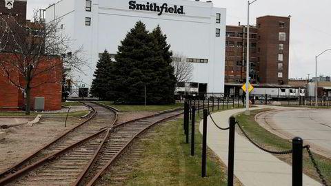 Smithfield Foods' slakteri og kjøttpakkeri her i Sioux Falls i Sør-Dakota er nå stengt på grunn av koronaviruset.