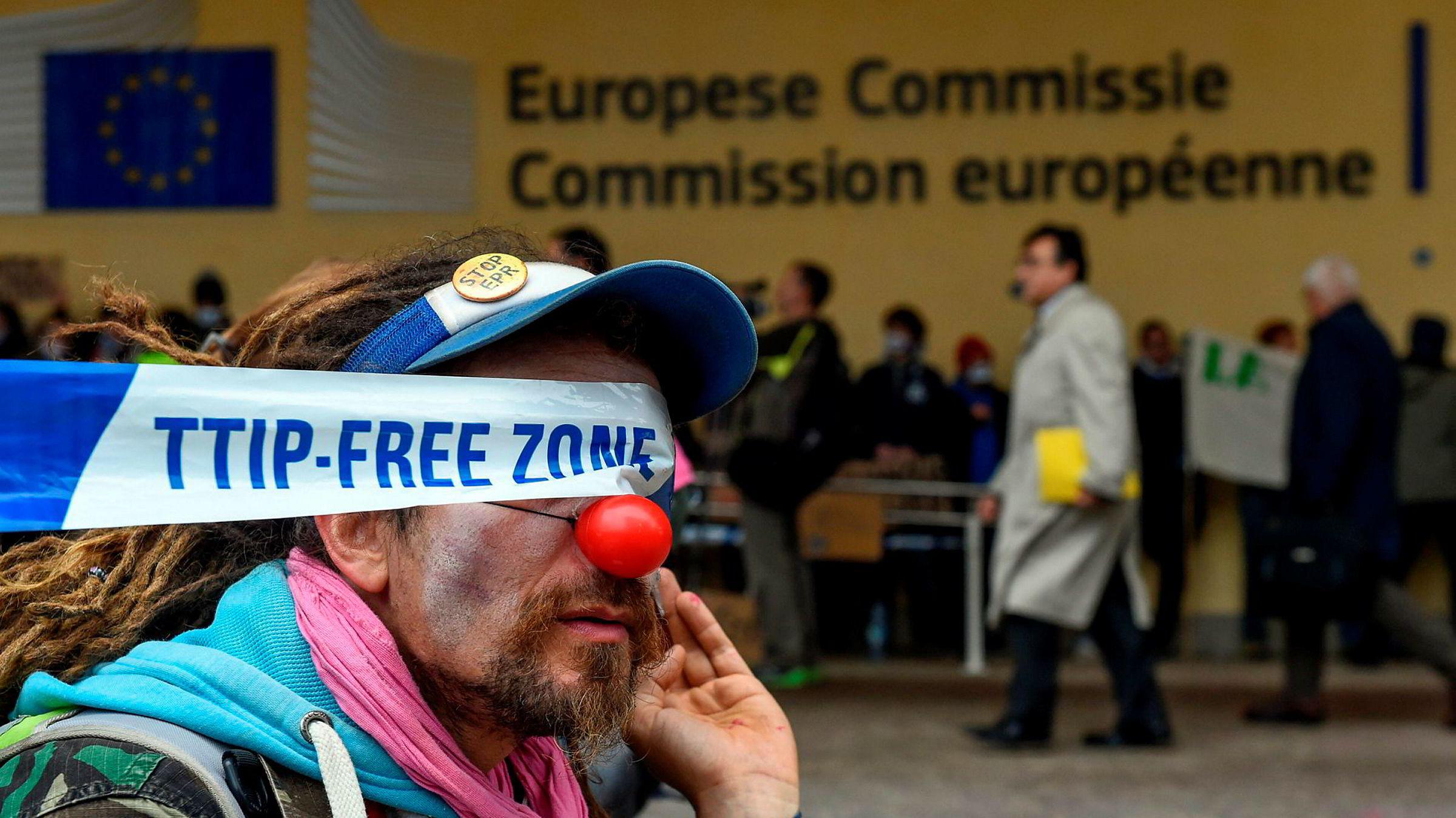 Her fra en demonstrasjon mot TTIP i Brussel.