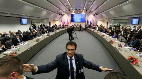 Forsamlingen av oljeministre i Opec under Opec-møtet i Vien onsdag.