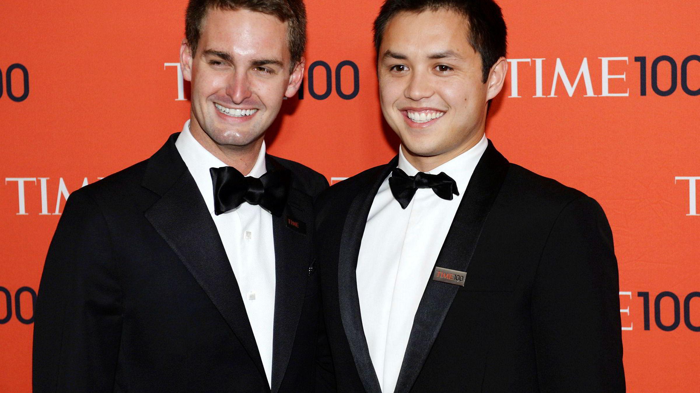 De to grunnleggerne Evan Spiegel og Bobby Murphy (til høyre) sitter hver på aksjer verdt 3,7 milliarder dollar, ifølge Wall Street Journal.