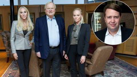 John Fredriksen, her med døtrene Cecilie og Kathrine (til høyre), starter en helt ny virksomhet med forvaltning av nordiske aksjer – både noterte og unoterte. Innfelt: Vegard Søraunet, som skal bygge opp den nye virksomheten i løpet av høsten.