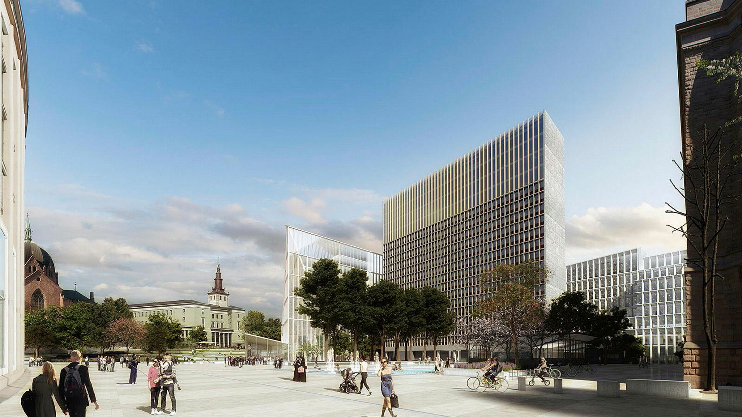 Slik skal det nye regjeringskvartalet se ut. Team Ubris' forslag Adap. Illustrasjon: Team Ubris/Statsbygg