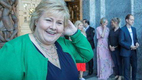 Statsminister Erna Solberg er invitert til toppmøte i regi av G7-landene. Her fotografert etter talen på Innovasjon Norges arrangement «Innovasjonstalen 2018 Merkevaren Norge».