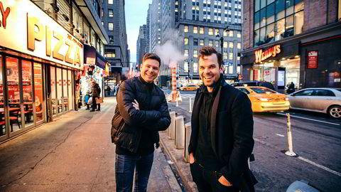 Gründerne Kjartan Slette, til venstre, og Thomas Walle bestemte seg i 2016 for å flytte til selskapets kommersielle hovedbase til New York.