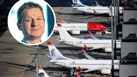 Pål Ringholm (innfelt) i Sparebank 1 Markets sier flybransjen er ett av to mest utsatte i kredittmarkedet nå – men vil ikke kommentere Norwegian spesielt. Han ber staten ta mer risiko enn under finanskrisen.