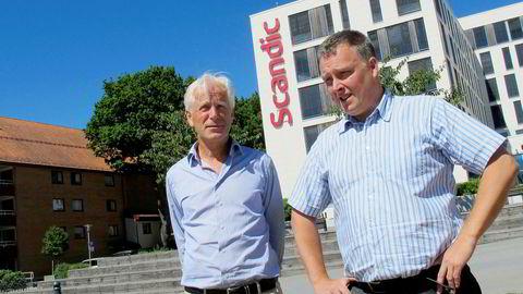 Ivar Mjåland (til venstre) har sikret seg nok en stor eiendom i Kristiansand gjennom kjøpet av hotellet Scandic Bystranda der Håvard Solum er hotelldirektør.