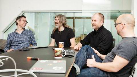 Magnus Kongsli Hillestad (fra venstre), Simen Svale Skogsrud, Øyvind Rostad og Even Eidsten Westvang har store forhåpninger til innholdsverktøyet de har vært med og utvikle.