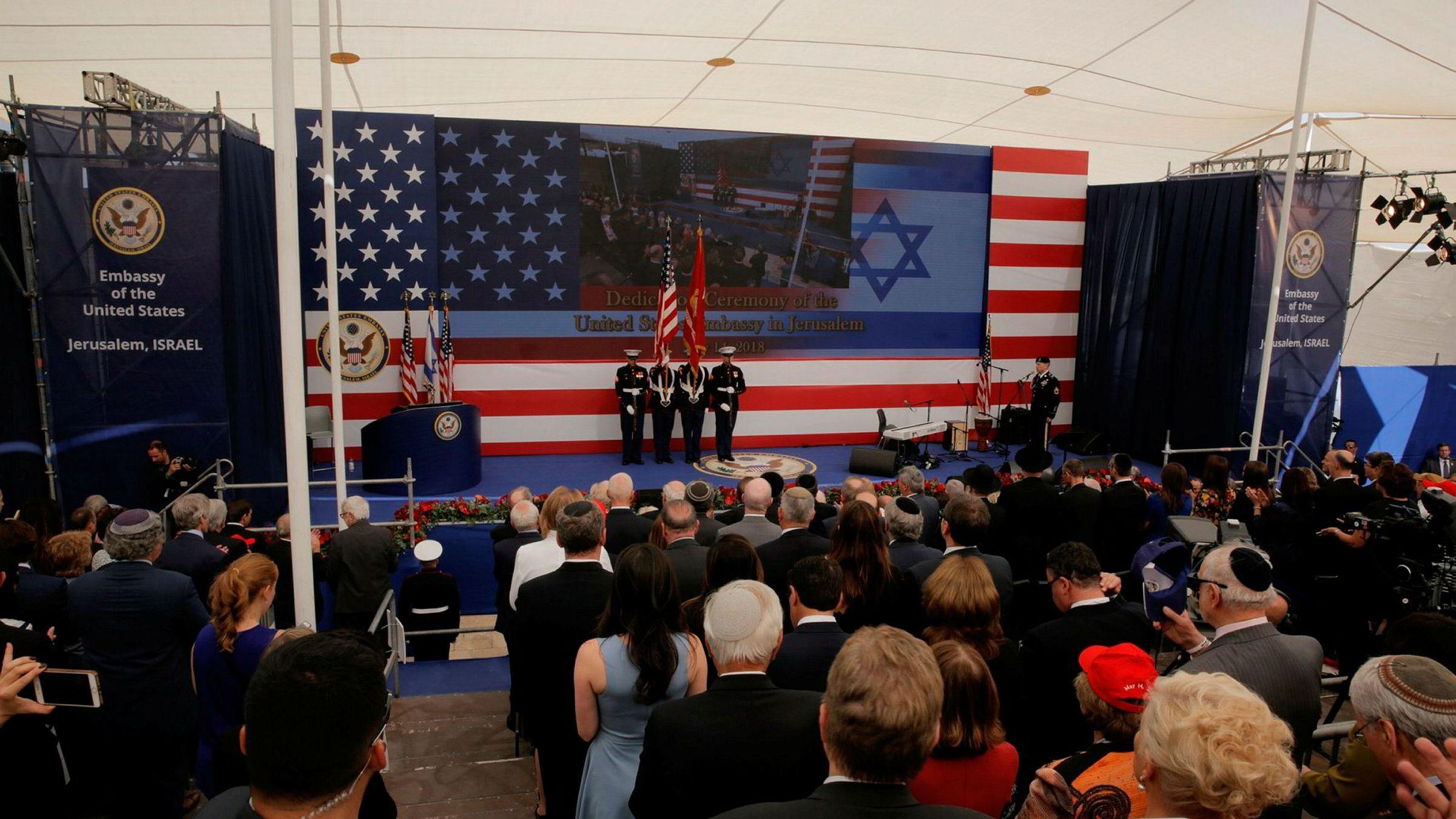USA åpnet mandag sin omstridte ambassade i Jerusalem, etter å ha erklært den okkuperte byen for Israels hovedstad.