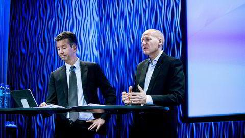 Tidligere finansdirektør Richard Olav Aa (til venstre) var en av Telenors mest sentrale toppsjefer før han i november 2015 ble fristilt av Telenor-sjef Sigve Brekke, grunnet granskingen av Vimpelcom-saken.