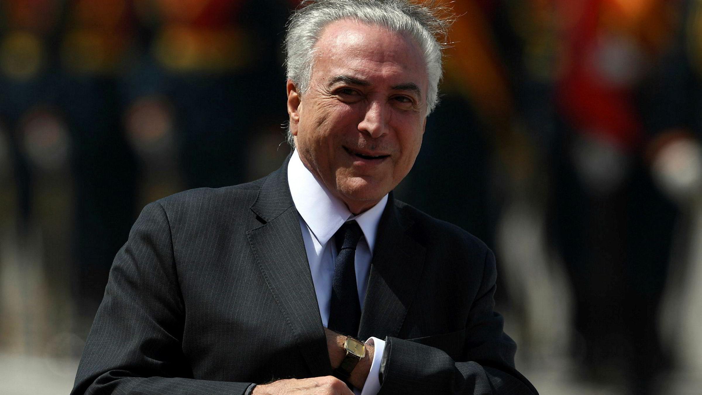 Brasils president Michel Temer under besøk i Moskva tirsdag denne uken.