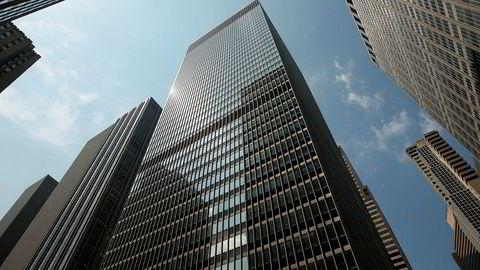 Denne bygningen på Manhattan i New York tilhører den sveitsiske storbanken UBS, som er blant bankene som ifølge Bloomberg News er stevnet i forbindelse med etterforskningen av mulig triksing med midlertidige rentepapirer.