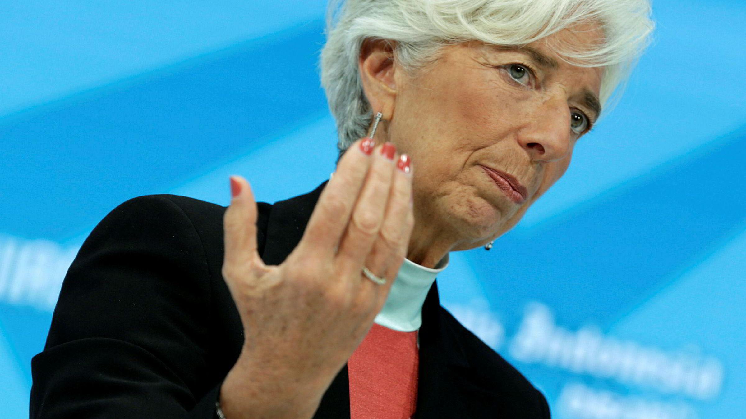 Direktør i det internasjonale pengefondet (IMF), Christine Lagarde. Her fra et IMF-møte i oktober.