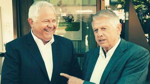 Tor Egil Lie (til venstre), sjef i Jæren Sparebank, har fått klage fra en bekymret kunde. Arne Norheim, til høyre, er tidligere styreleder i banken.