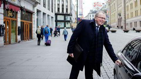 Statoil-sjef Eldar Sætre advarer mot USA-president Donald Trumps økte proteksjonisme. Her utenfor Grand Hotel, Oslo, der han talte på Swedbanks energiseminar torsdag.