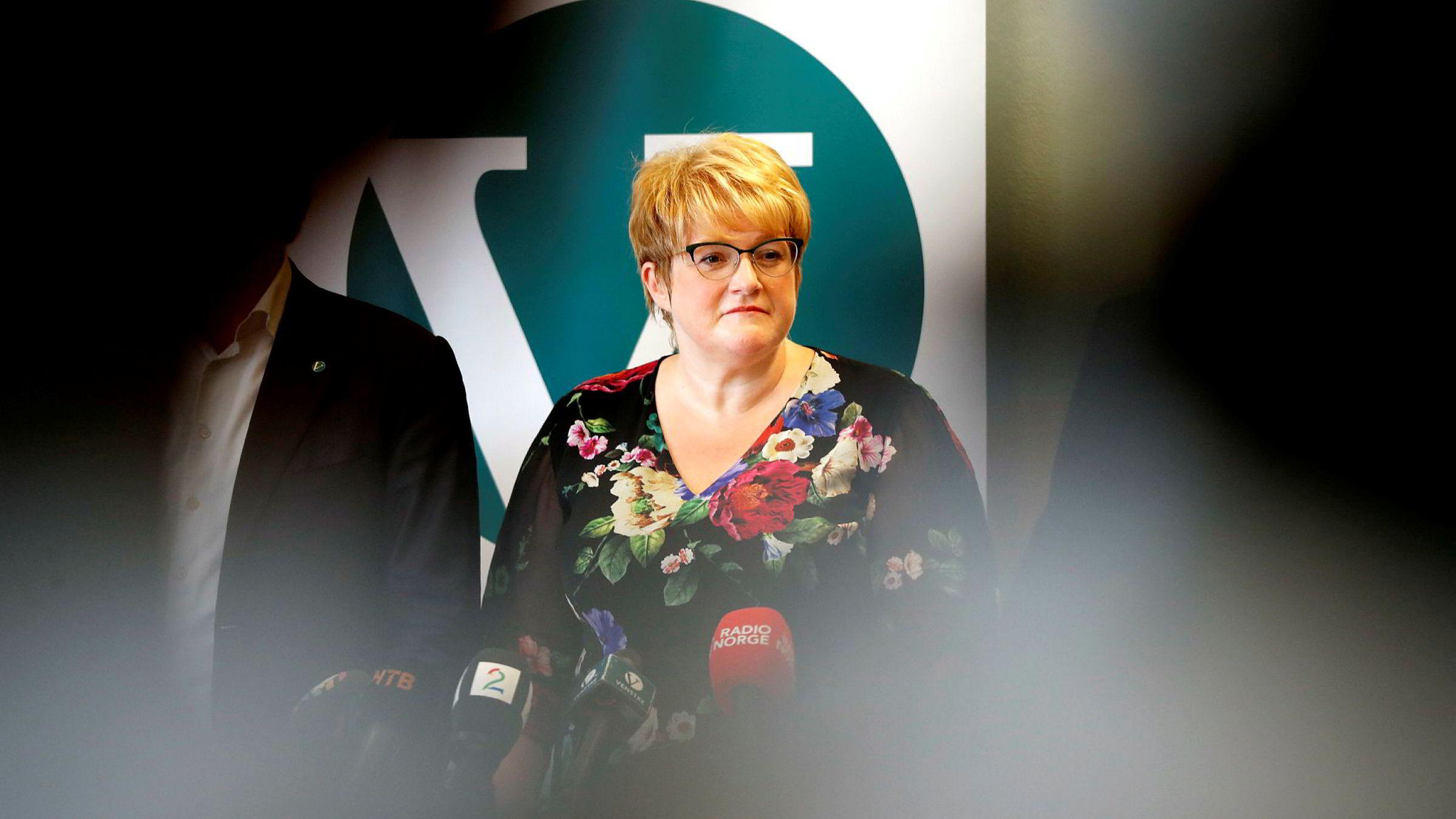 Partileder Trine Skei Grande i Venstre. I den siste undersøkelsen til Poll of polls får Venstre fire prosent oppslutning, så vidt over sperregrensen.