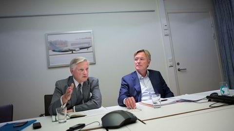 Pensjonsselskapet Silver får ytterligereutsettelse på kapitalkrav av Finansdepartementet. Fra venstre administrerende direktør Mikkel Berg og styreleder Stig Grimsgaard Andersen.