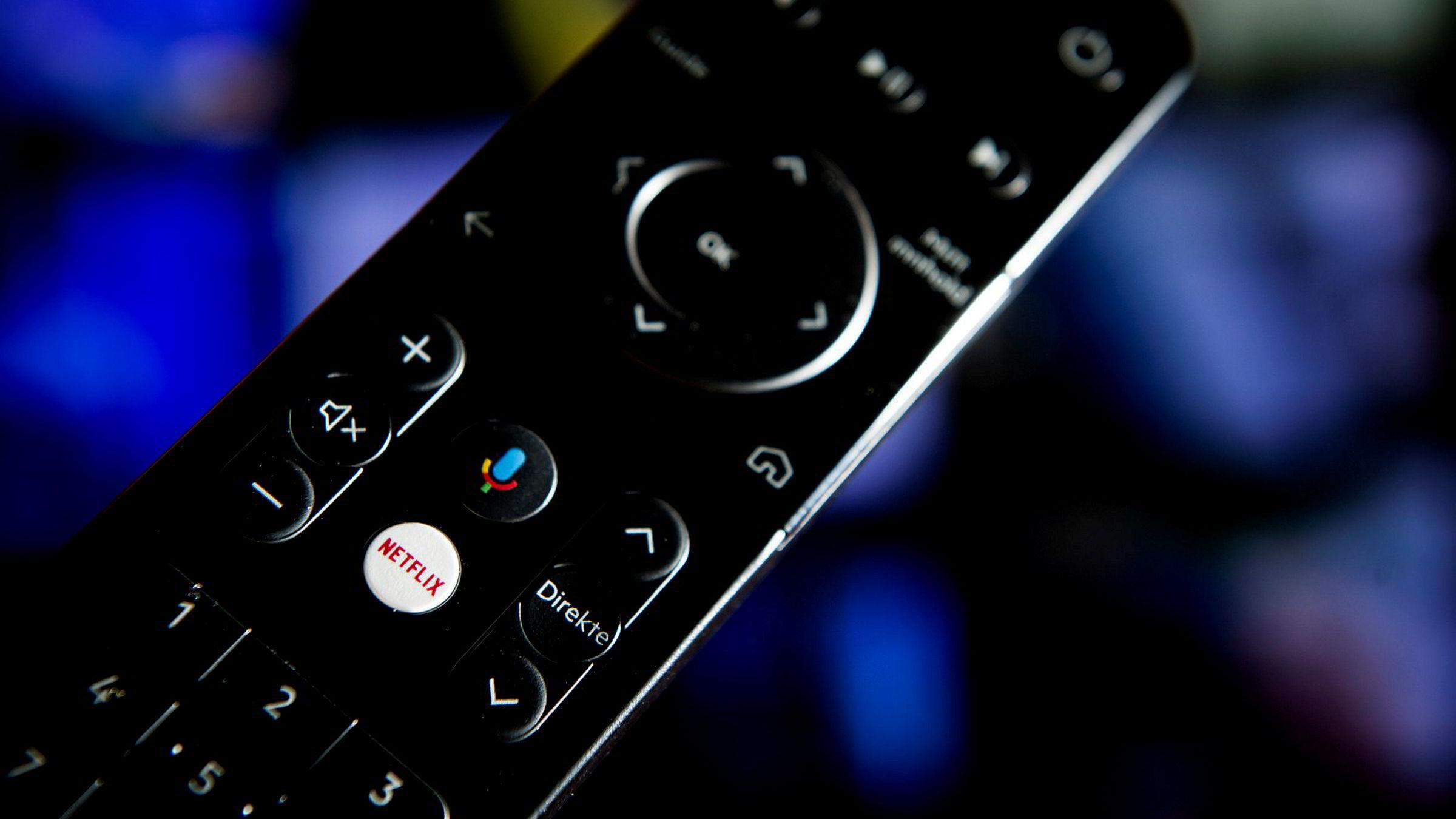 Slik ser den nye fjernkontrollen til Get ut. Netflix-logoen stikker tydelig frem i midten.