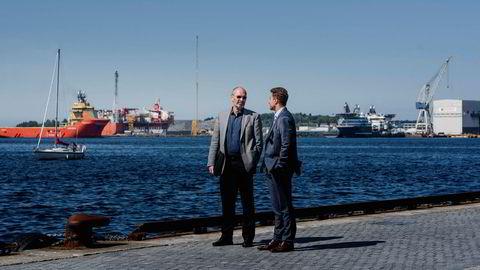 Daglig leder i NeoDrill, Jostein Aleksandersen (tv) her sammen med sin advokat Kyrre Tangen Andersen i Kluge advokatfirma.
