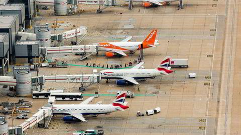 British Airways stoppet all aktivitet ved Gatwick utenfor London i starten av april. Det er usikkert om flyselskapet vil komme tilbake. Bildet er tatt før koronaepidemien.