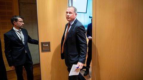 Hedgefondforvalter Nicolai Tangen (53) starter som ny oljefondssjef i september. Her er han fra pressekonferansen 28. mai da han presenterte arbeidsavtalen med Norges Bank.