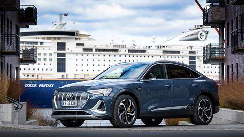 Audi E-tron har fortsatt godt driv i leveringene. I mai ble det en annenplass, etter Volkswagen Golf. Her er E-tron i den nye Sportback-utgaven.