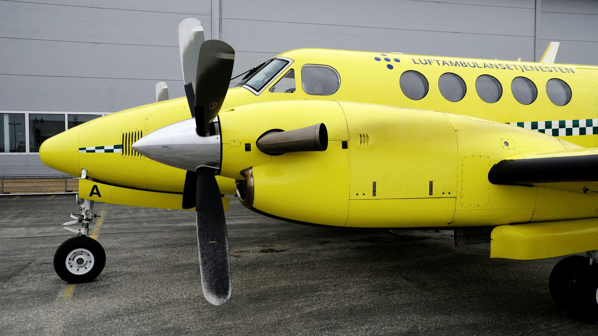 Luftambulansefly fra Lufttransport på Tromsø Lufthavn. Foto: Rune Stoltz Bertinussen / NTB scanpix