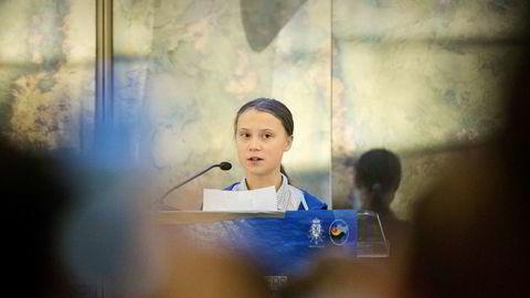 Greta Thunberg har ingen problemer med å tale makten midt imot, som her i FN i fjor høst. Torsdag møtte hun igjen Europakommisjonens leder, Ursula von der Leyen.