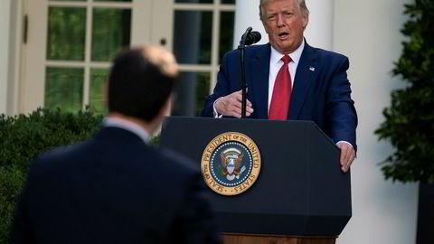 President Donald Trump langet ut mot både Kina og Joe Biden i sin pressekonferanse tirsdag.