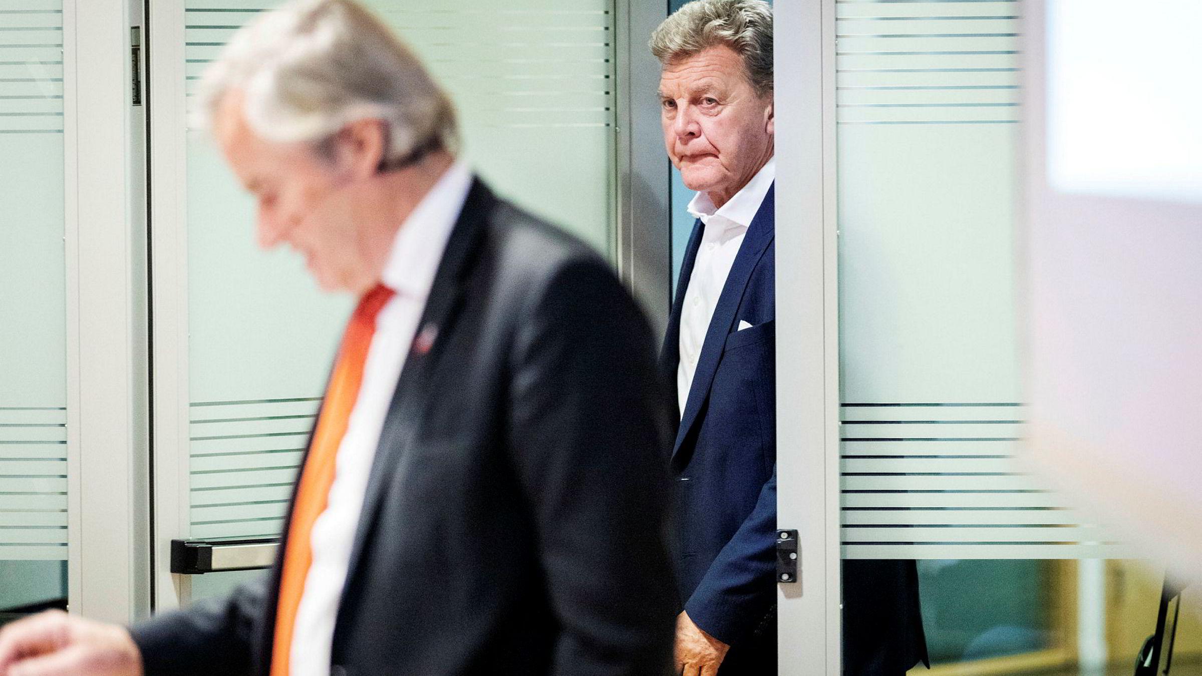 Norwegian-grunder og tidligere toppsjef Bjørn Kjos (til venstre) og tidligere styreleder Bjørn H. Kise.
