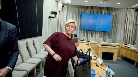 Finansminister Siv Jensen har vært involvert i SSB-saken siden november i fjor. Her fra en høring om den betente saken på Stortinget i forrige måned.