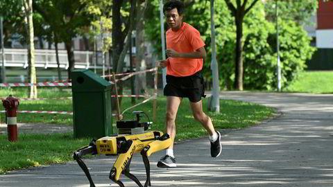 Singapore har slått av hovedbryteren og stengt ned mye av økonomien og samfunnet. Det er utplassert roboter i parker som gir beskjed til folk om å holde avstand for å hindre spredning av koronaviruset covid-19. Det er bekreftet smitte hos over 31.000 mennesker i Singapore – en tidobling på seks uker.