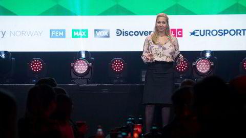 Administrerende direktør Tine Austvoll Jensen i Discovery Networks Norway under presentasjonen av tv-kanalenes vårlansering i november. Nå kan det bli svarte skjermer for hele sulamitten hvis man er Get-kunde.