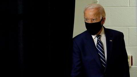 Joe Biden før talen i New Castle i Delaware.