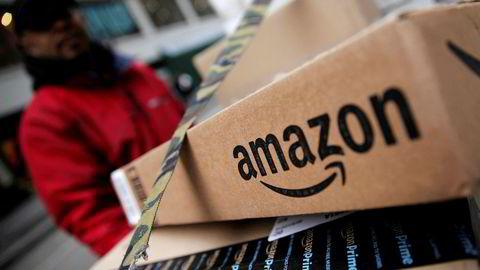 En Amazon-leveranse i New York, en av byene stedene der den amerikanske handelsgigantens såkalte Prime-kunder får gratis levering av varer samme dag som de bestilles.